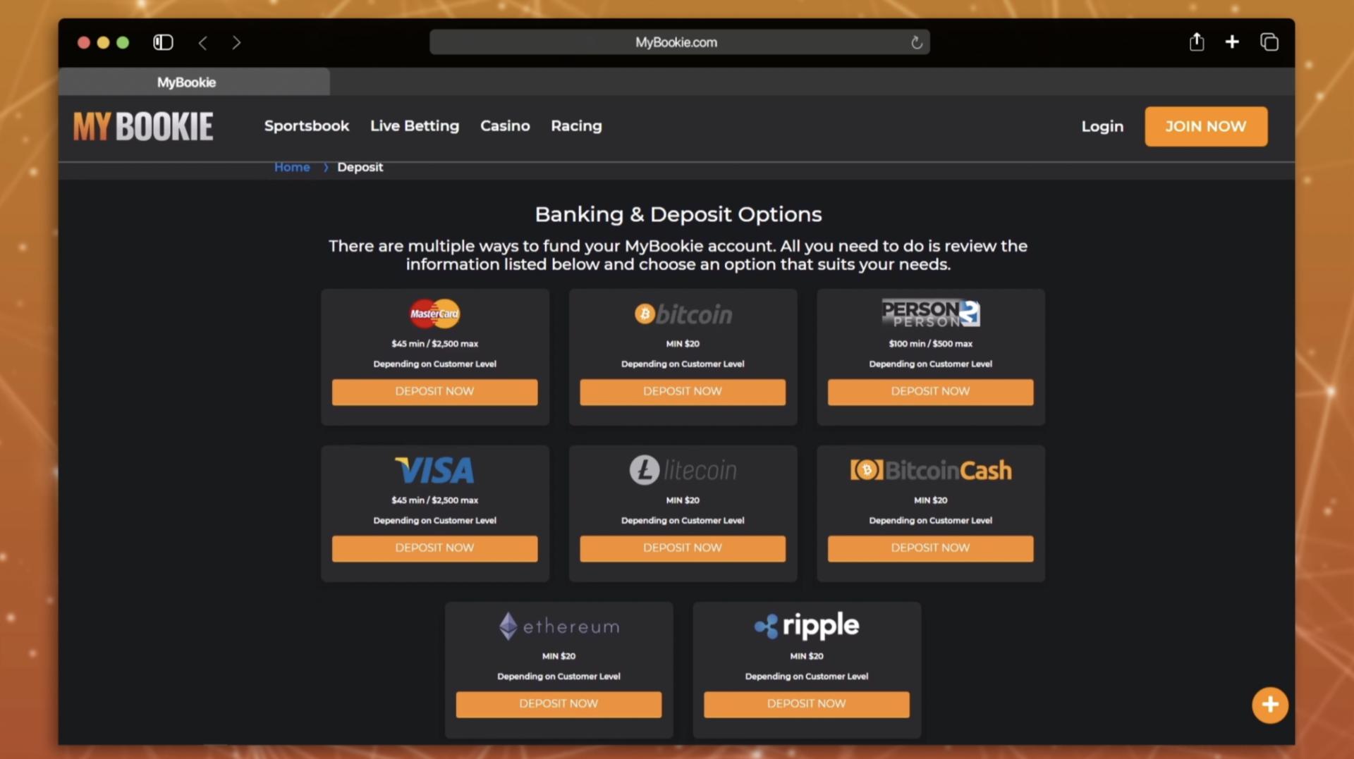 MyBookie deposits withdraws